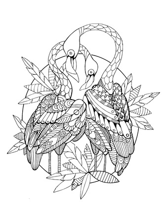 flamenco ave: Flamingo bird coloring book for adults vector illustration. Anti-stress coloring for adult. Tattoo stencil. Zentangle style. Black and white lines. Lace pattern Vectores
