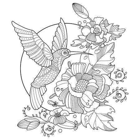 Colibrí Colibri libro para colorear para los adultos ilustración vectorial. Antiestrés colorear para adultos. plantilla del tatuaje. estilo de Zentangle. líneas blancas y negras. modelo del cordón Ilustración de vector