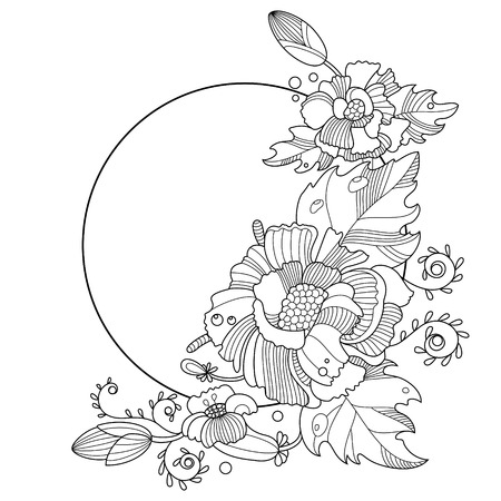 flower ornament: Flower ornament coloring book for adults vector illustration. Anti-stress coloring for adult. Tattoo stencil.  Black and white lines. Lace pattern