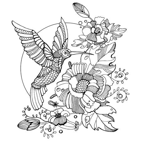 Hummingbird livre de coloriage pour les adultes colibri illustration vectorielle. Anti-stress coloration pour les adultes. Tattoo pochoir. Les lignes noires et blanches. motif de dentelle Vecteurs