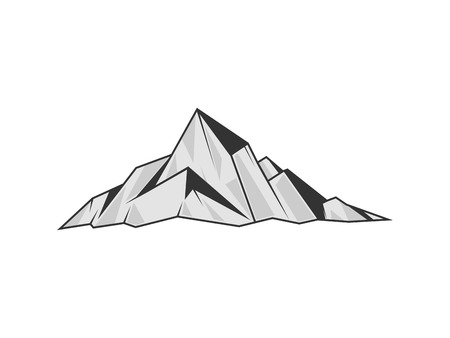 monochromic: Mountains engraving vector illustration. Rock drawing design element. Scratch board style imitation. Hand drawn image. Illustration