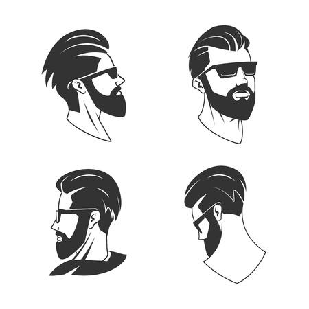 El hombre con barba inconformista ilustración vectorial de la barbería. Minimalista dibujo de la cabeza humana. Barbería