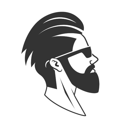 Man with beard hipster barbershop vector illustration. Minimalistic human head drawing. Barbershop Illustration
