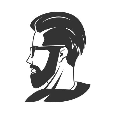barbershop: Man with beard hipster barbershop vector illustration. Minimalistic human head drawing. Barbershop Illustration