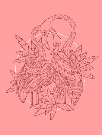 flamenco ave: ilustración vectorial de diseño del tatuaje del pájaro del flamenco. plantilla del tatuaje. líneas blancas y negras. modelo del cordón