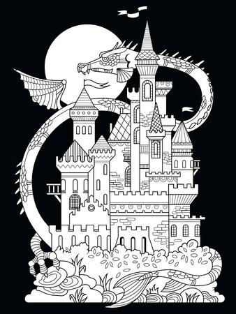 Castillo Y Dragón Ilustración. Dibujo De Hadas Para Niños ...
