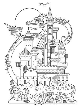 Château et illustration de dragon. dessin de fée pour les enfants. Anti-stress coloration pour les adultes. Tattoo pochoir. style. Les lignes noires et blanches. motif de dentelle Banque d'images