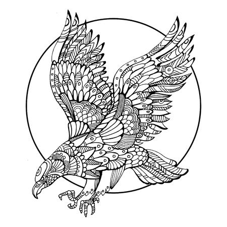 Eagle vogel kleurboek voor volwassenen illustratie. Anti-stress-kleuring voor volwassen. Tattoo stencil. stijl. Zwart en witte lijnen. kantpatroon