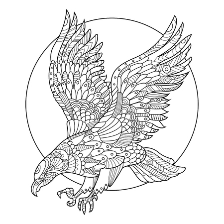 Eagle bird coloring book for adults illustration. Anti-stress coloring for adult. Tattoo stencil. style. Black and white lines. Lace pattern Иллюстрация
