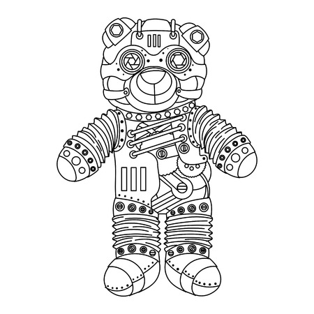 Steampunk style bear. Mechanical animal. Coloring book for adult illustration. Vettoriali