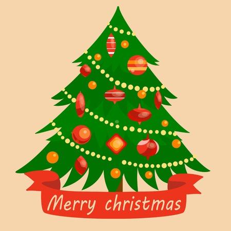 christmas tree illustration: Christmas tree. Colorful cartoon  illustration