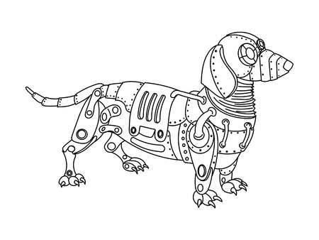 Steampunk style dachshund dog. Mechanical animal. Coloring book for adult illustration. Vettoriali