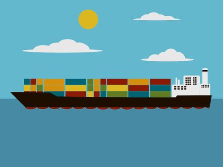 shipbuilding: Containers cargo ship cartoon. Cartoon colorful vector illustration Illustration