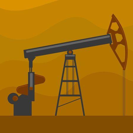 Oil well. Flat hand drawn cartoon