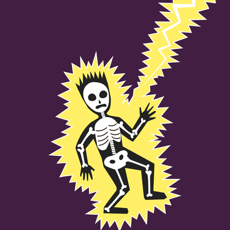 or electrocution: Lightning hit the man. Colorful hand drawn cartoon