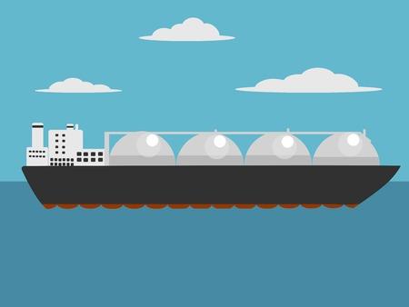 Liquefied natural gas carrier ship. Cartoon colorful hand drawn.