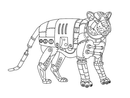 Steampunk style tiger. Mechanical animal. Coloring book for adult vector illustration.