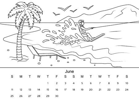 Calendario De Marzo De Imagen De Libro Para Colorear Con