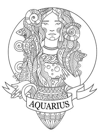 Libro de colorear de la muestra del zodiaco del acuario para la ilustración del vector de los adultos. Colorante antiestrés para adulto. Plantilla del tatuaje Líneas blancas y negras Patrón de encaje Foto de archivo - 68996446