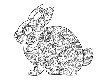 Rabbit bunny coloring book for adults vector illustration. Anti-stress coloring for adult. Tattoo stencil. Zentangle style. Black and white lines. Lace pattern Vectores