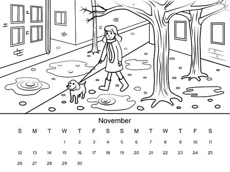 Calendario Octubre Imagen Del Libro De Colorear Con Dibujo