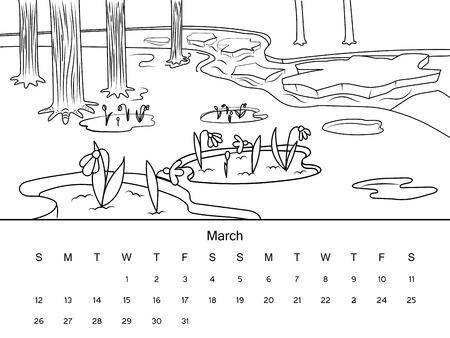 CALENDARIO Noviembre De Imagen De Libro Para Colorear Con. Dibujo En ...