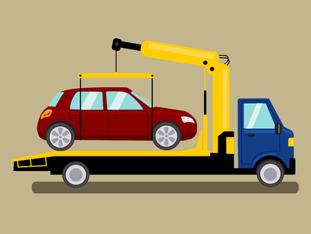 the wrecker: Tow truck takes away car. Colorful hand drawn cartoon vector illustration