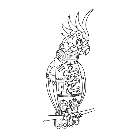 Steampunk style parrot. Mechanical animal. Coloring book for adult vector illustration.