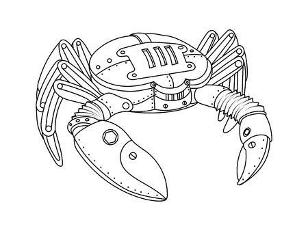 Steampunk style crab. Mechanical animal. Coloring book for adult vector illustration. Иллюстрация