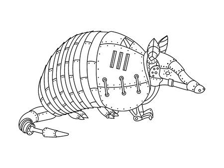 スチーム パンクなスタイルのアルマジロ。機械動物。大人のベクトル イラストの塗り絵。