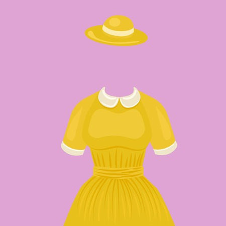 temlate: Woman dress with hat temlate without head. Design element for making collage. Colorful hand drawn cartoon vector illustration. Illustration