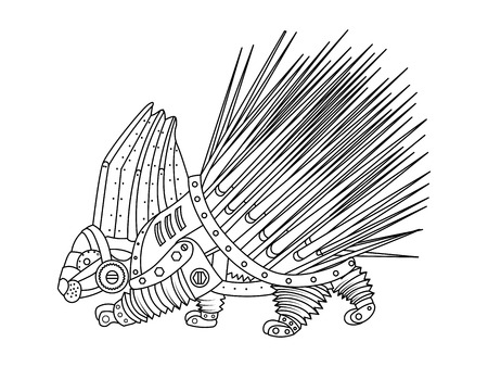 Steampunk style porcupine. Mechanical animal. Coloring book for adult vector illustration. Vettoriali