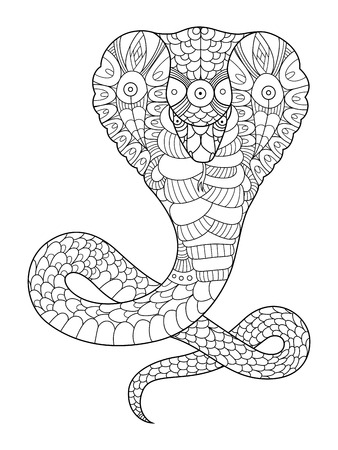 Cobra snake coloring book for adults vector illustration. Anti-stress coloring for adult. Tattoo stencil. Black and white lines. Lace pattern 版權商用圖片 - 68895634