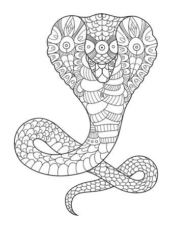 serpiente cobra: Serpiente de la cobra libro de colorante para los adultos ilustración vectorial. Antiestrés colorear para adultos. plantilla del tatuaje. líneas blancas y negras. modelo del cordón