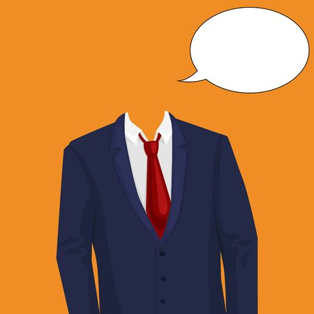 temlate: Businessman suit temlate without head. Design element for making collage. Colorful hand drawn cartoon vector illustration.