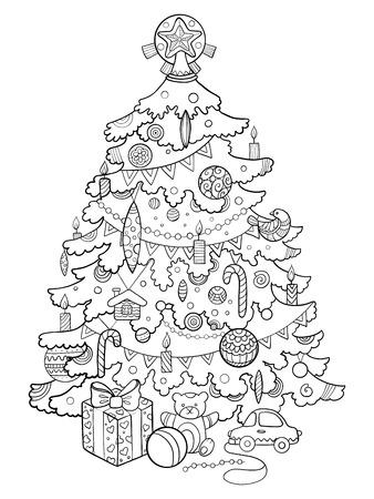 クリスマス ツリーの漫画本のベクトル図を着色