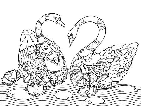 Cisne Libro De Colorante Para Los Adultos Ilustración Vectorial ...
