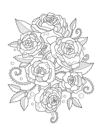 rose tattoo: Rose flower coloring book for adults vector illustration. Anti-stress coloring for adult. Tattoo stencil.  Black and white lines. Lace pattern
