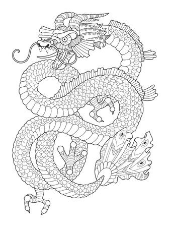 Dragon coloring book for adults vector illustration. Anti-stress coloring for adult. Tattoo stencil.   Black and white lines. Lace pattern Фото со стока - 69014001