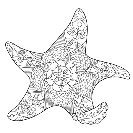 color tribal tattoo: Starfish coloring book for adults vector