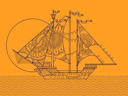 sailing ship: Sailing ship color drawing vector illustration