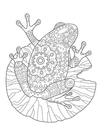 Ilustración De La Rana Para Colorear Vector Del Libro Ilustraciones ...