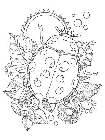 Mariquita Para Colorear Ilustración Vectorial Ilustraciones ...