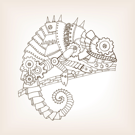 Ancient draft of mechanical chameleon. Mechanical animal. Coloring book vector illustration.