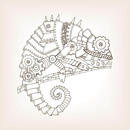 Ancient draft of mechanical chameleon. Mechanical animal. Coloring book vector illustration.