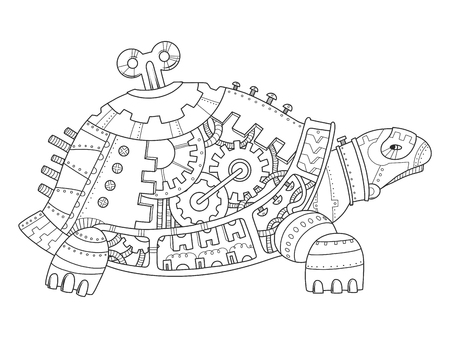 Steampunk style turtle coloring book vector Stock Photo