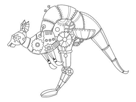 Steampunk style kangaroo. Mechanical animal. Coloring book vector illustration. Illustration
