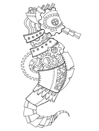 caballo de mar: Steampunk style sea horse coloring book vector