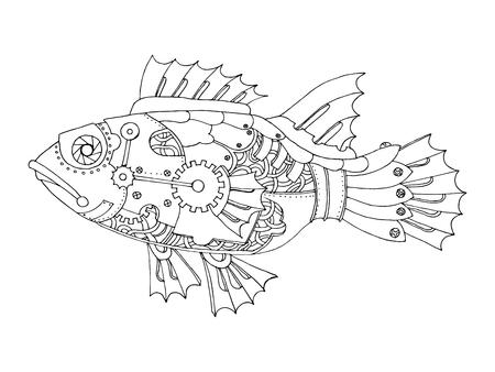 Vecteur de tableau à colorier Fish Fish style Steampunk Banque d'images - 71412527