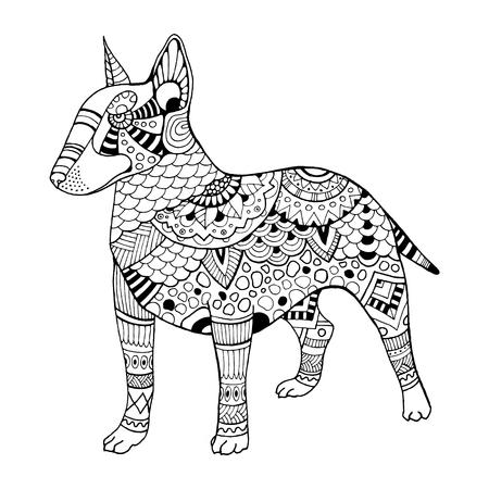 bullterrier: Bullterrier dog coloring book vector illustration Illustration